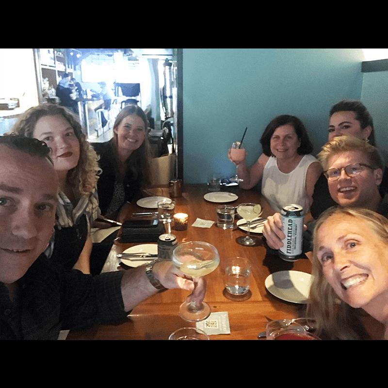 Group of coworkers enjoying dinner
