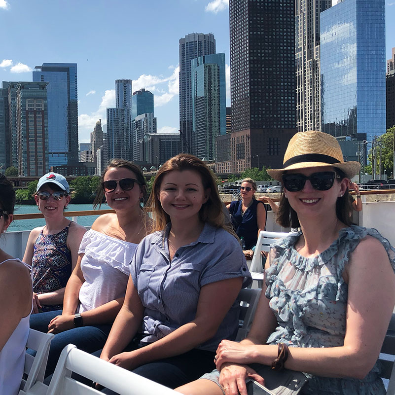 Team on Chicago river boat tour