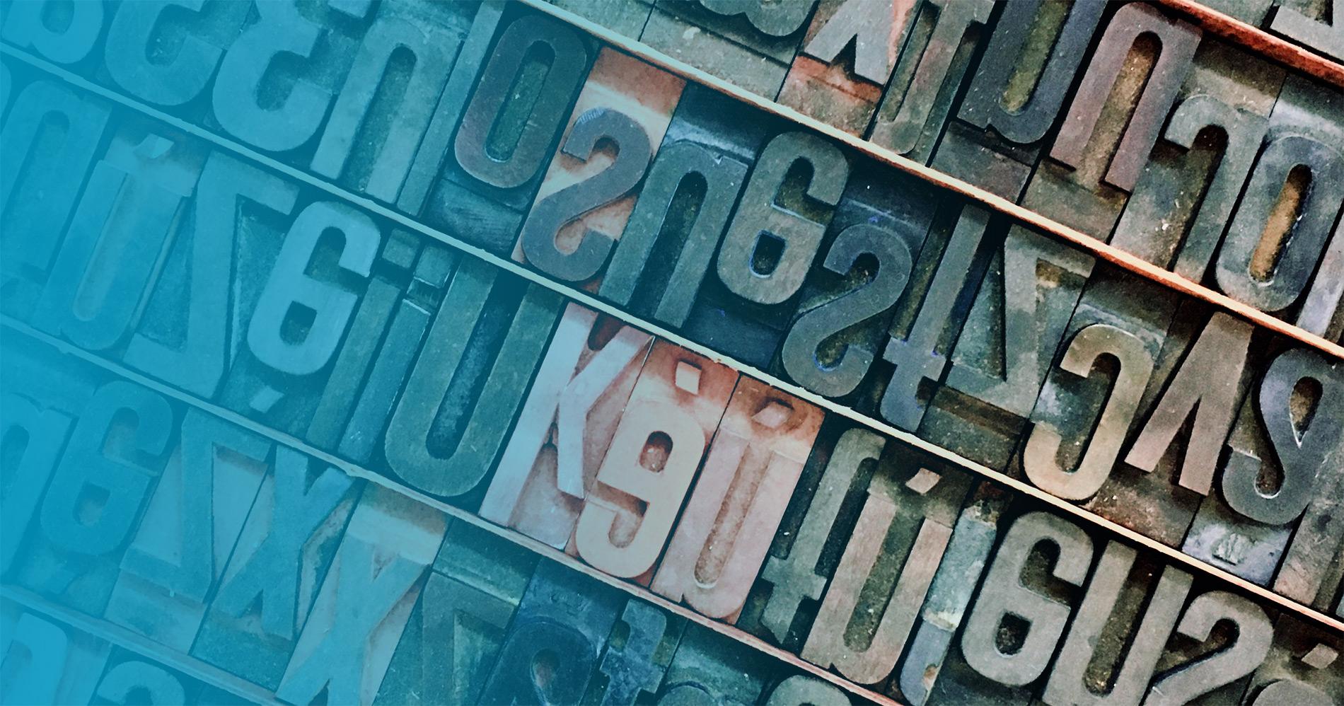 Letterpress letters up close