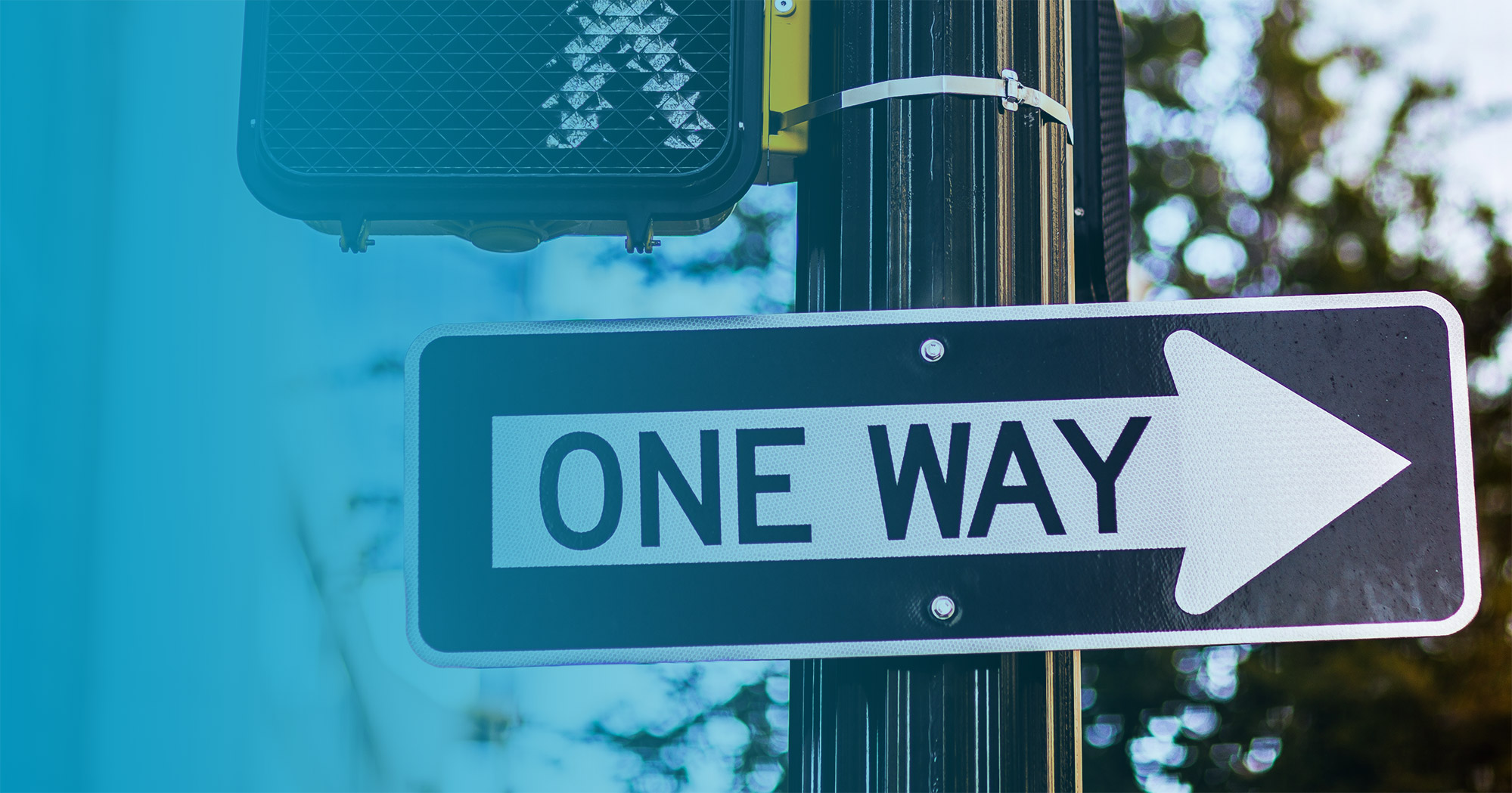 """One way"" arrow street sign pointing to right"