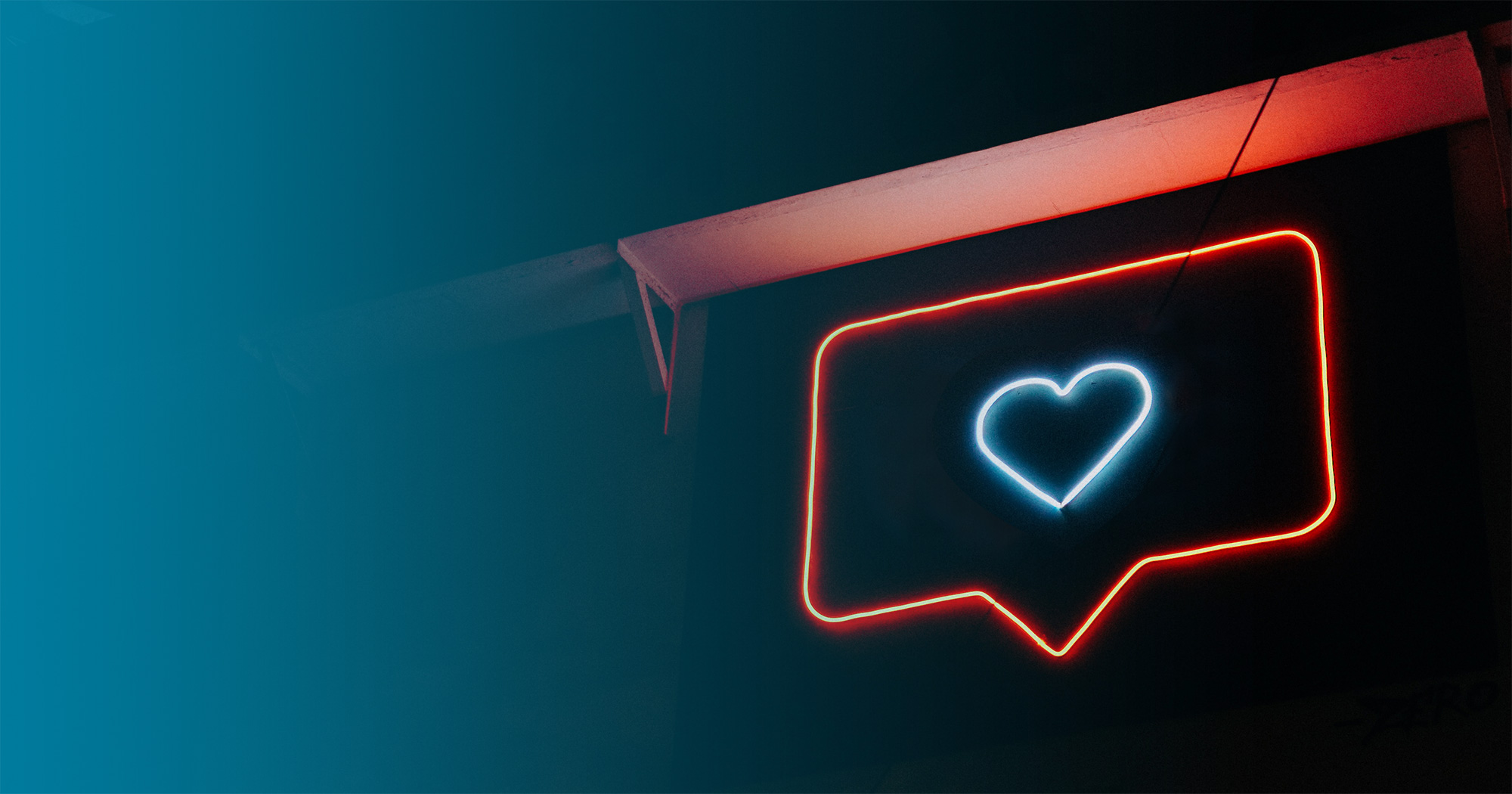 Social Media Engagement Instagram Heart in Neon