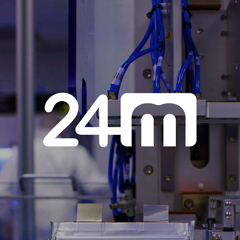 24M logo over industrial manufacturing photo