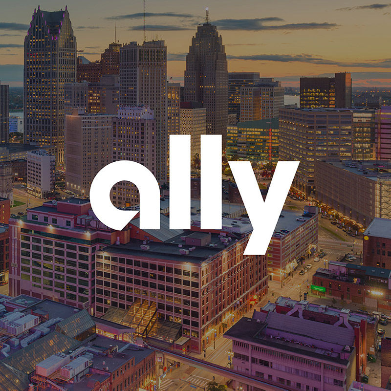 Ally logo over cityscape photo of Detroit