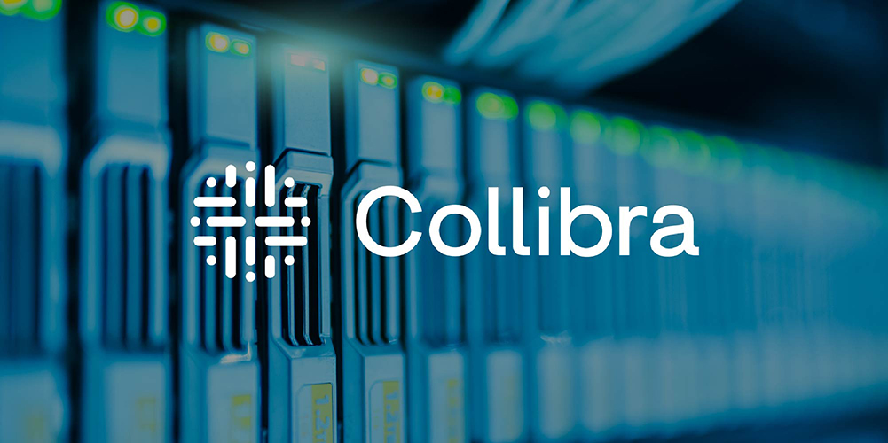 Collibra logo over photo of data processors