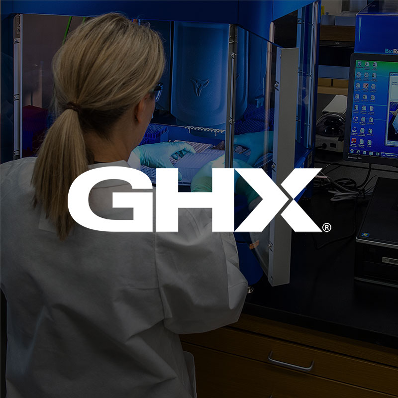 GHX logo of a photo of a healthcare lab technician testing samples