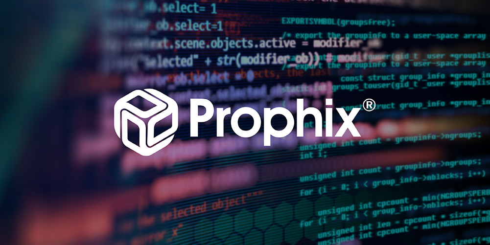 Prophix logo over a photo on computer code