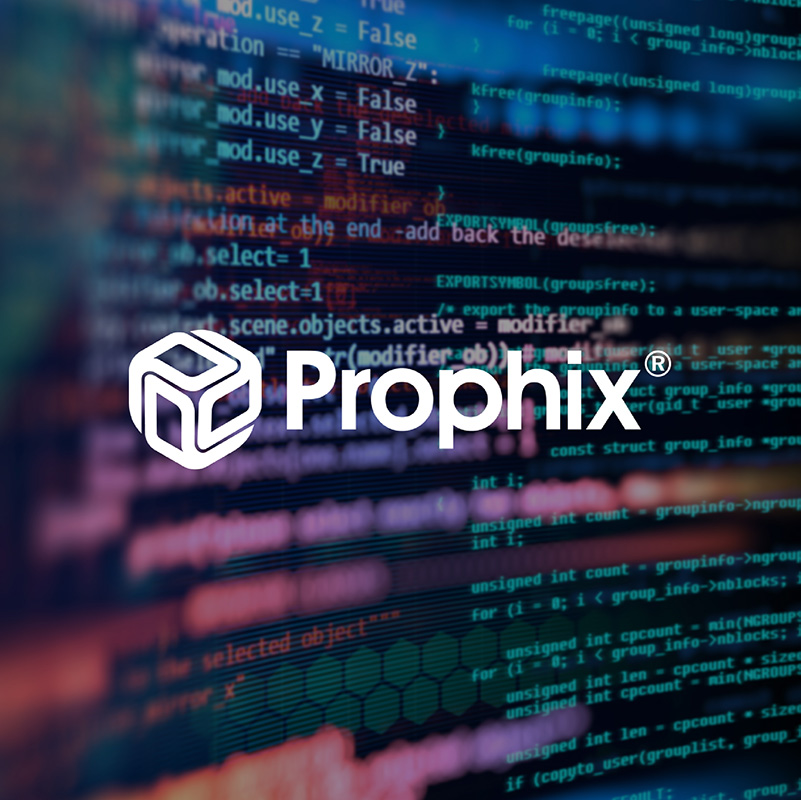 Prophix logo over photo of technology code