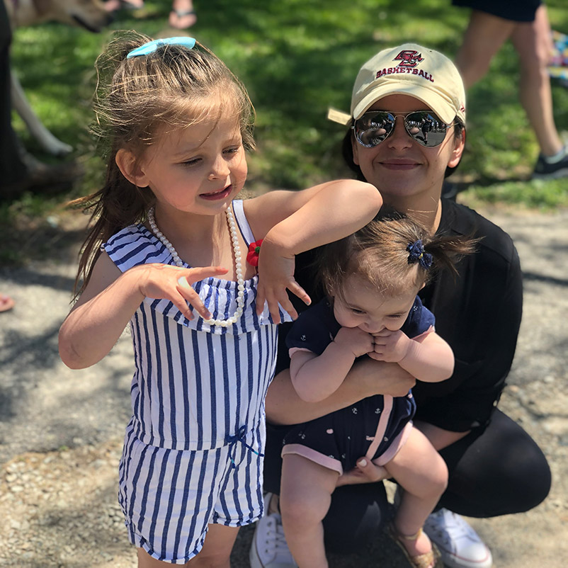Celena Fine, picture of two daughters on hike