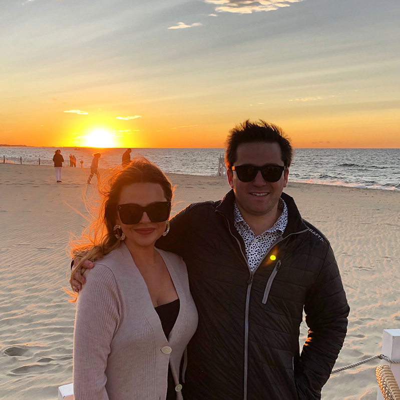Celena Fine, picture with husband on beach