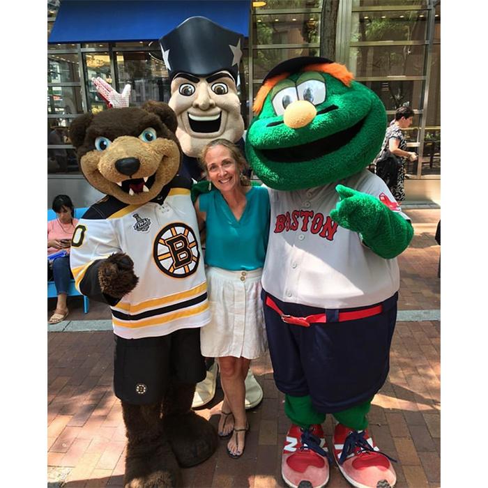Colleen Irish with Boston sports mascots